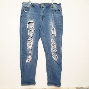 Forever 21 High rise distressed boyfriend jeans
